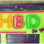 เทียนวันเกิด happy birthday HBD ขอบสี ทรงสี่เหลี่ยม