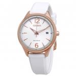 นาฬิกาผู้หญิง Citizen Eco-Drive รุ่น FE6103-00A, Chandler Silicone Silver Dial