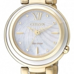 นาฬิกาข้อมือผู้หญิง Citizen Eco-Drive รุ่น EM0336-59D, Sapphire Japan Gold Tone Elegant