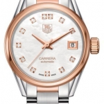 นาฬิกาผู้หญิง Tag Heuer รุ่น WAR2452.BD0777, Carrera Automatic Calibre 9 Mother Of Pearl Diamonds Steel & 18kt Rose Gold