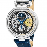 นาฬิกาผู้ชาย Stuhrling Original รุ่น 889.01, Modena Automatic Dual Time Skeleton Blue Genuine Leather Strap Men's Watch