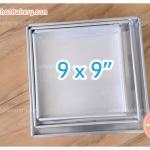 พิมพ์เค้ก สี่เหลี่ยม 9x9x1.5 นิ้ว อลูมิเนียม