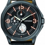 นาฬิกาข้อมือผู้ชาย Citizen Eco-Drive รุ่น AP4005-11E, Military Black Ion Plated Multi Dial 100m
