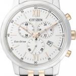 นาฬิกาข้อมือผู้ชาย Citizen Eco-Drive รุ่น AT2304-50A, Chronograph Sapphire Japan Dual Tone 100m