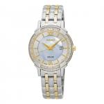 นาฬิกาผู้หญิง Seiko รุ่น SUT278, Solar Mother Of Pearl Dial Two Tone Women's Watch