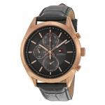 นาฬิกาผู้ชาย Tommy Hilfiger รุ่น 1791125, Charlie Quartz Multi-Function Grey Dial Black Leather