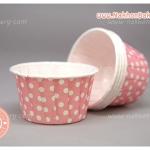 ถ้วยคัพเค้ก เคลือบมัน ม้วนขอบ สีชมพู จุดขาว 5ซม ไต้หวัน