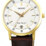 นาฬิกาผู้หญิง Orient รุ่น FUNG6003W0, Quartz Gold Leather Strap Women's Watch