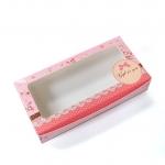 กล่องบราวนี่ 2 ชิ้น สีชมพู ลายดอกไม้