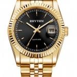 นาฬิกา ชาย - หญิง Rhythm รุ่น R1201S06, Traditional Oyster Sapphire Gold Black Dial R1201S 06, R1201S-06
