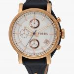 นาฬิกาผู้หญิง Fossil รุ่น ES3838, Original Boyfriend Chronograph Blue Leather Strap Quartz Women's Watch