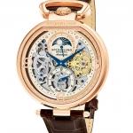 นาฬิกาผู้ชาย Stuhrling Original รุ่น 889.03, Modena Automatic Dual Time Skeleton Rose Tone Case brown Genuine Leather Strap Men's Watch