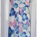 Sold Jumpsuit เอวจั๊ม ผ้าชีฟอง พื้นสีขาว ลายดอก