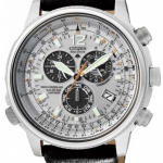 นาฬิกาข้อมือผู้ชาย Citizen Eco-Drive รุ่น AS4020-44H, Nighthawk Chrono Aviator Euro Radio Sapphire Leather Watch