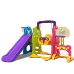 Playground Set สไลเดอร์ 4 อิน 1 สำหรับเด็ก สไลเดอร์ แป้นบาส ชิงช้า ประตูฟุตบอล