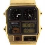 นาฬิกาข้อมือ ชาย & หญิง Citizen รุ่น JG2002-53E, Retro Ana-Digi Temperature Classic Gold Tone Watch