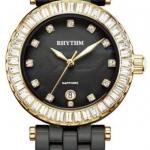นาฬิกาผู้หญิง Rhythm รุ่น C1104C06, Sapphire Black Ceramic Swarovski Gold C1104C-06, C1104C 06