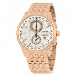 นาฬิกาผู้หญิง Citizen Eco-Drive รุ่น AT8113-55A, Radio Controlled Chronograph Perpetual Calender World Time Rose Gold-Tone Steel Women's Watch