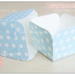 ถ้วยกระดาษ สี่เหลี่ยม ถ้วยเค้ก ชิฟฟ่อน ฮอกไกโด สีฟ้า ลายจุด