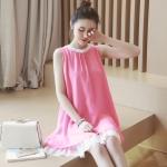เดรสคนท้องเกาหลี ผ้าชีฟองลาย มีซับใน ต่อระบายที่คอและปลายเดรส M,L,XL,XXL