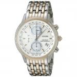 นาฬิกาผู้หญิง Citizen Eco-Drive รุ่น FC5006-55A, World Chronograph A-T Atomic Silver Dial Stainless Steel Two Tone Women's Watch