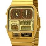 นาฬิกาข้อมือผู้ชาย Citizen รุ่น JG2002-53P, Retro Ana-Digi Temperature Classic Gold Tone