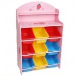 ชั้นวางของ ที่เก็บของเล่นเด็ก Strawberry Keeping Toys สีชมพู