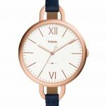 นาฬิกาผู้หญิง Fossil รุ่น ES4355, Annette Leather Rose Gold Navy Quartz Women's Watch