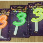 เทียนปักเค้กวันเกิด ตัวเลข 3