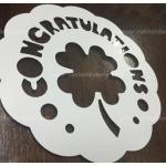 สเตนซิล congratulations แผ่นโรยผงโกโก้ Stencils ตกแต่งหน้าเค้ก