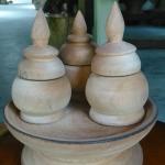 ชุดถ้วย 3 ใบพร้อมฝาปิดมีถาด ไม้เทพทาโร