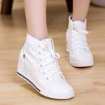 รองเท้าผ้าใบหนังส้นสูง5-8cmแฟชั่นเกาหลี
