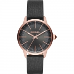 นาฬิกาผู้หญิง Diesel รุ่น DZ5573, Castilia Rose Gold-Tone Black Leather Quartz Ladies Watch