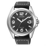 นาฬิกาผู้ชาย Citizen Eco-Drive รุ่น AW1430-19E, Black Dial Black Leather