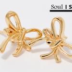 ต่างหูเงิน 925 ชุบทองคำ 18K รูปโบว์น่ารักมาก