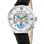 นาฬิกาผู้ชาย Stuhrling Original รุ่น 574.01, Executive II Stainless Steel Genuine Leather Strap Men's Watch