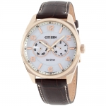 นาฬิกาผู้ชาย Citizen Eco-Drive รุ่น AO9023-01A, Dress Rose Gold-tone Silver Dial Brown Leather Strap Men's Watch