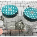 แก้วมัค mason jar มีหู ลายจุด สีฟ้า