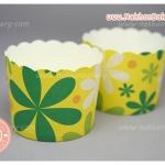ถ้วยกระดาษ ปาเน็ตโทน ขอบหยัก ใหญ่ ดอกไม้ เหลือง เขียว
