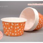 ถ้วยคัพเค้ก เคลือบมัน ม้วนขอบ สีส้ม จุดขาว 5ซม ไต้หวัน