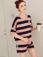ชุดเสื้อ+กางเกงคนท้อง ลายทาง ผ้านิ่ม มีโบว์ที่ปลายเสื้อ กางเกงมีสายปรับขนาดภรรภ์ M,L,XL,XXL