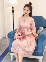 ชุดคลุมท้องเกาหลี ผ้าฉลุลายสวยมาก ประดับลูกไม้ แขน4 ส่วน ซับในทั้งชุด M,L,XL,XXL