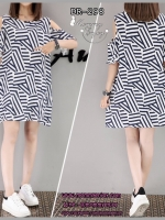 เดรสคนท้องเปิดไหล่ ผ้าชีฟอง ลายเลขาคณิต ทรงสวย ใส่สบาย M,L,XL,XXL