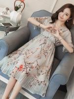 ชุดคลุมท้องแขนยาว ผ้าชีฟอง ลายดอกไม้น่ารัก ช่วงกระโปรงอัดพรีททำระบายช่วงปลายแขน M L XL XXL