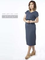 ชุดให้นม Phrimz : Muffin breastfeeding Maxi Dress - Navy Gray สีเทาเข้ม