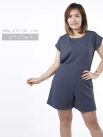 ชุดให้นม Phrimz : Popcorn breastfeeding jumpsuit - Navy Gray สีเทาเข้ม