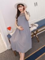 เดรสคลุมท้องแนวเกาหลี อัดพรีท สีเทาหมอก ด้านบนซีทรู น่ารักฝุดๆ M,L,XL,XXL