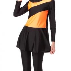 ชุดว่ายน้ำคนอ้วน แบบสปอร์ตพร้อมส่ง :ชุดว่ายน้ำไซส์ใหญ่สีดำส้มแขนยาว set 3ชิ้นมีเสื้อแขนยาวแต่งระบาย. กางเกงขายาวและหมวกแบบสวยมากจ้า:รอบอก40-52นิ้ว เอว34-46นิ้ว สะโพก46-58นิ้ว