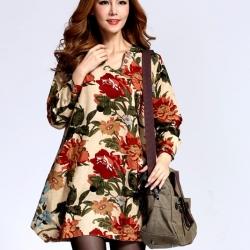 เสื้อผ้าแฟชั่นผู้หญิงพร้อมส่ง : เดรสสีแอปริคอท แต่งลายดอกไม้สีสัน น่ารัก น่ารัก จ้า