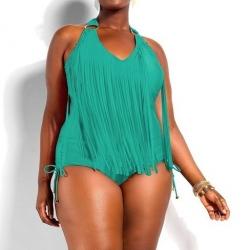 ชุดว่ายน้ำคนอ้วน วันพีชไซส์ใหญ่พร้อมส่ง :ชุดว่ายน้ำแฟชั่นสีเขียวแต่งพู่ผูกคอสีสันสดใสแบบสวย .sexy มากๆจ้า:รอบอก40-50นิ้ว เอว38-48นิ้ว สะโพก40-50นิ้ว